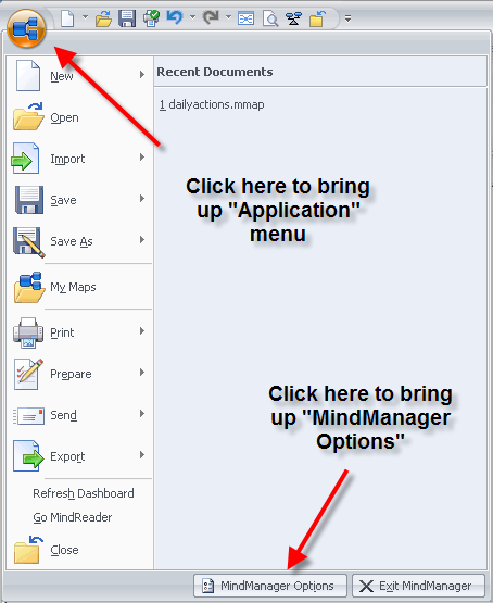 MindManager 7 options