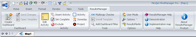 ResultsManager Ribbon Toolbar for MindManager 7