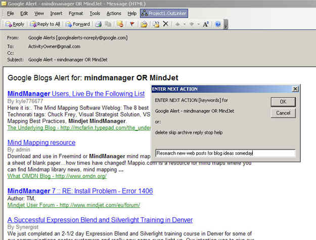 Using OutLinker to process your Microsoft OutLook inbox messages into MindManager