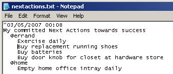 Next Actions List in Notepad
